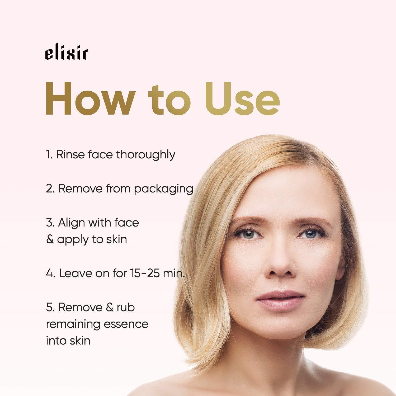 Elixir Cosmetics 24K Gold Korean Collagen Face Mask - Anti-Aging & Moisturizing Peel Off Facial Sheet Mask - 12 Pack