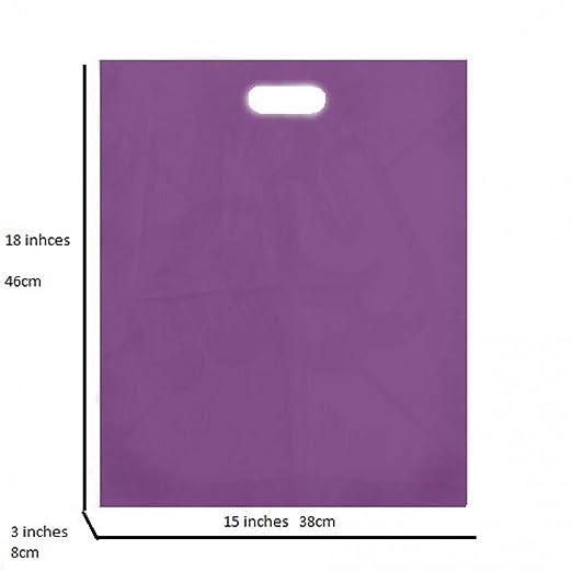 Bolsas de regalo de plástico morado, tamaño grande, 38 x 46 x 8 cm, morado, 15 x 18 x 3 Inches