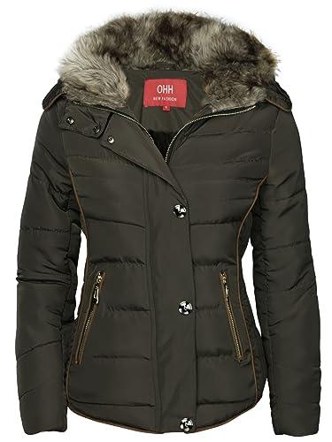 OHH Fashion – Chaqueta de invierno con forro acolchado con capucha para mujer
