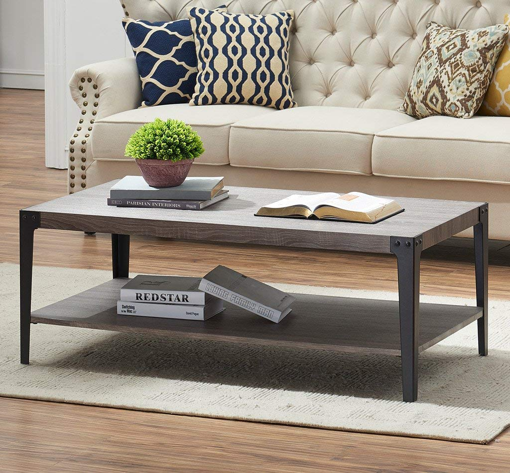 Amazon com ok furniture industrial rectangular cocktail coffee table with storage shelf for living room gray finish kitchen dining