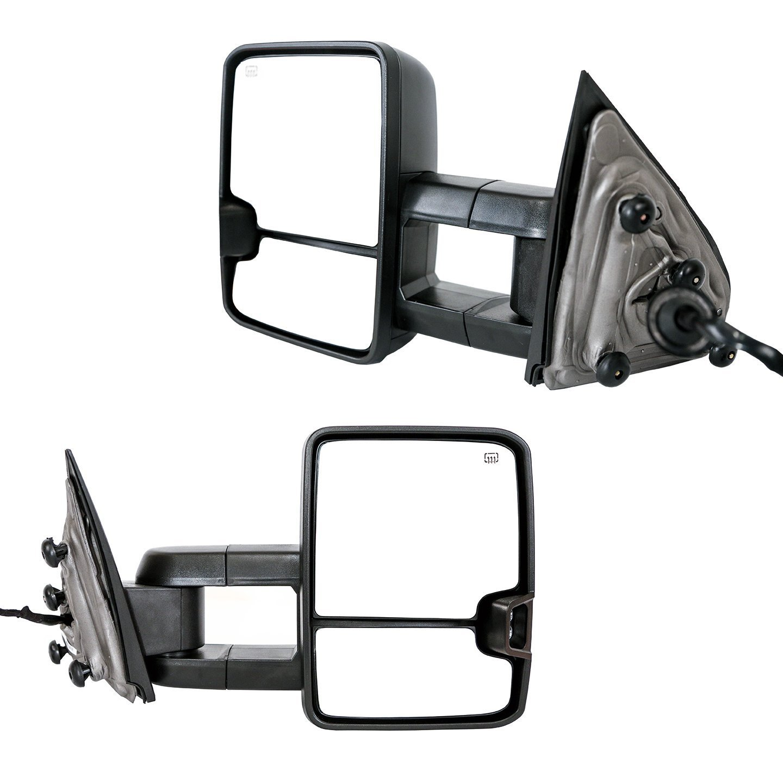 Black Pair Set No Heat Galaxy Auto Telescopic Towing Mirrors for 2014-18 Chevy Silverado 1500 // GMC Sierra 1500 /& 2015-18 Silverado // Sierra 2500//3500 No Signal Manual