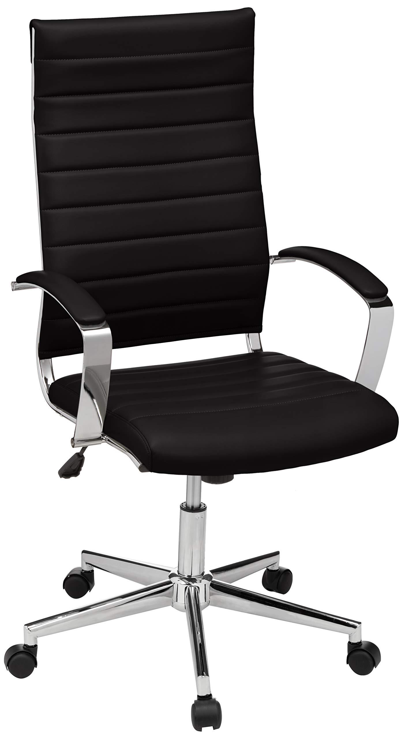 AmazonBasics High-Back Executive Swivel Office Desk Chair with Ribbed Puresoft Upholstery - Black by AmazonBasics