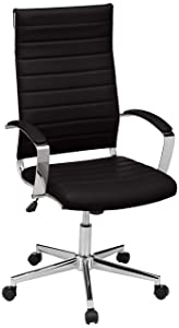 AmazonBasics High-Back Executive Swivel Chair with Ribbed Puresoft PU - Black