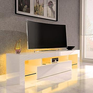 SANZARO TV Lowboard Board Schrank Fernsehtisch HiFi Hochglanz LED