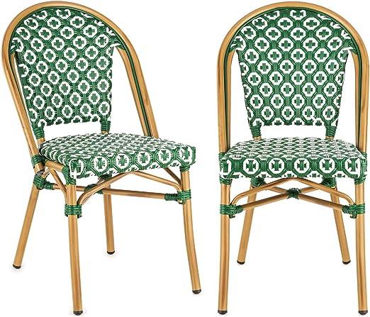 blumfeldt Montbazin GR Chaise de Jardin, Nettoyage Facile, Cadre en Aluminium, Résistante aux intempéries, Empilable, Peu encombrante, Assise