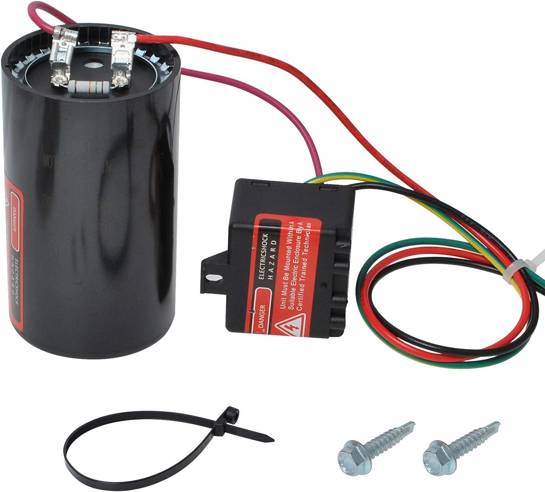 Piwerod 5-2-1 CSRU3 Compressor Saver, Hard Start Capacitor for 4-5 Ton Air Conditioning, Heat Pump, and Refrigeration Compressors Black