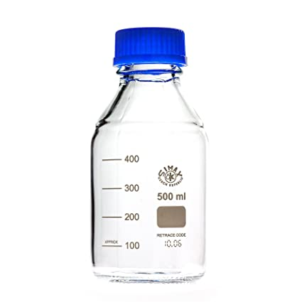 Laboratorio rosca botellas con tapa y anillo azul 500 ml