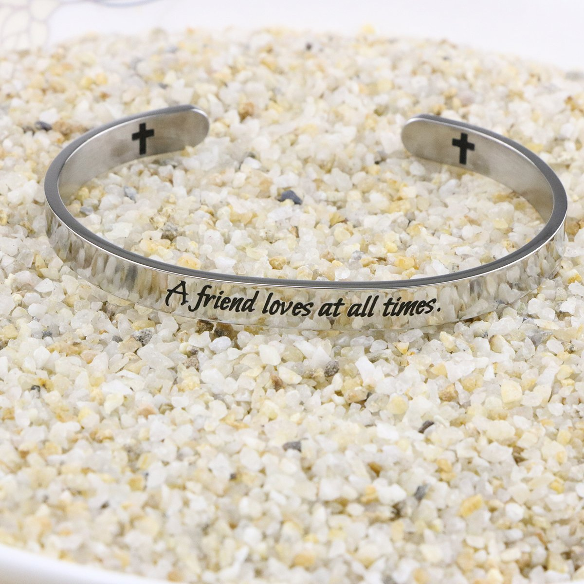 Yiyang Friendship Bracelets Chirstian Jewelry Positive Cuff Bangle Memorial Gift Proverb Engraved A Friend Loves at All Times by Yiyang (Image #5)