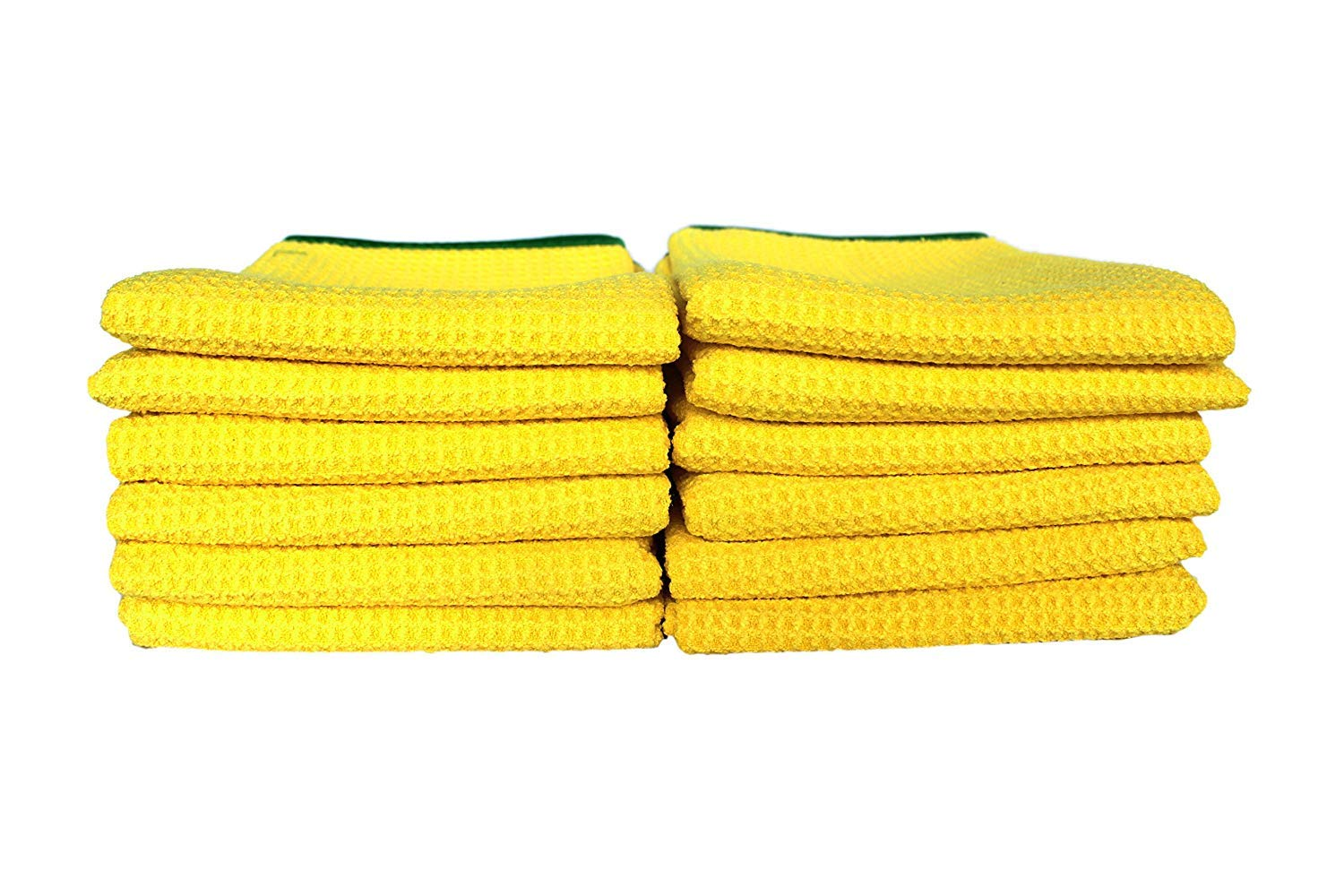Maxshine 400GSM Crazy Microfiber Waffle Weave Drying Towel with Green Silk Border for Car Detailing, Yellow (60X90cm, Pack of 12)