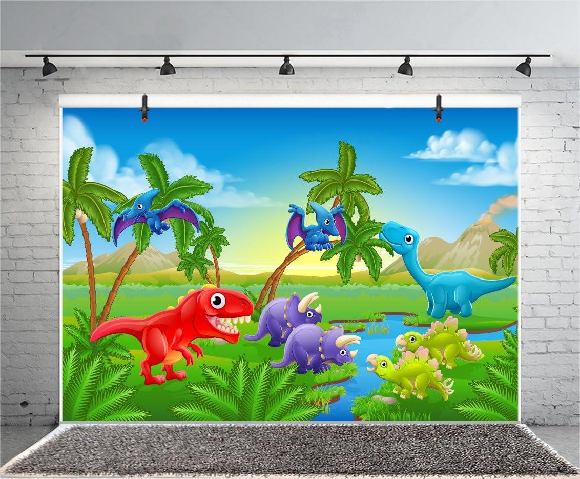 YEELE Cartoon Dinosaur Park Backdrop 8x6ft Kids Birthday Decoration Photography Background Dino Theme Kids Acting Show Child Boys Son Artistic Portrait Photobooth Props Wallpaper