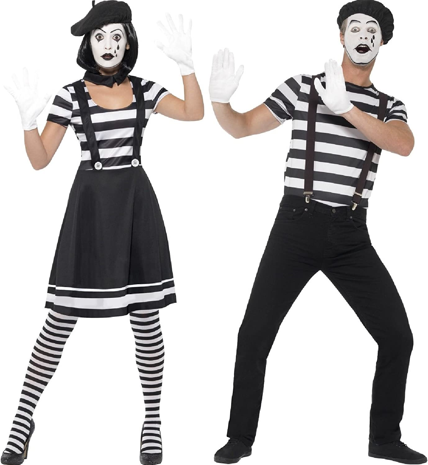Ladies and Mens Black and White French Mime Artists Circus Performers Carnival Couples Fancy Dress Costumes Outfits