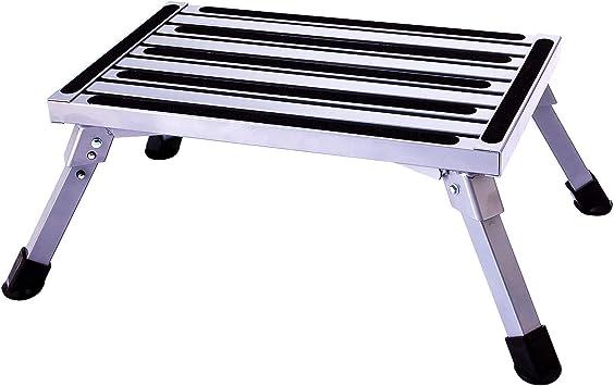Superworth - Escalera plegable de aluminio para autocaravana, viajes, campamento, trabajo con superficie antideslizante, pies de goma, capacidad de peso de 200 kg: Amazon.es: Bricolaje y herramientas