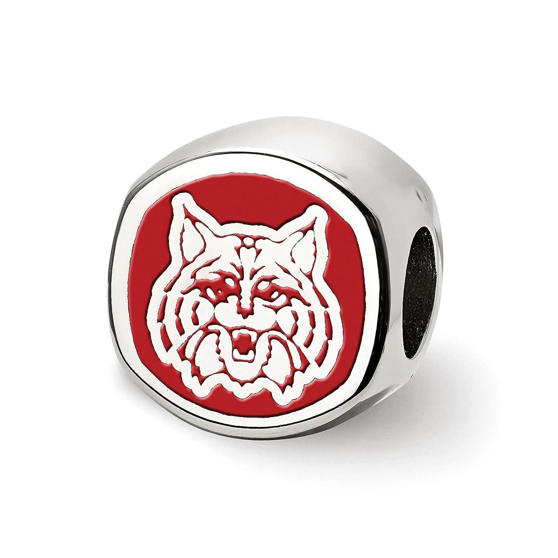 Sterling Silver Rhodium-plated Laser-cut The University of Arizona Cushion Shaped Double Logo Bead Charm