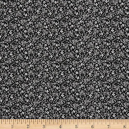 Santee Print Works The Red Basics Small Floral Black/White Fabric by The Yard