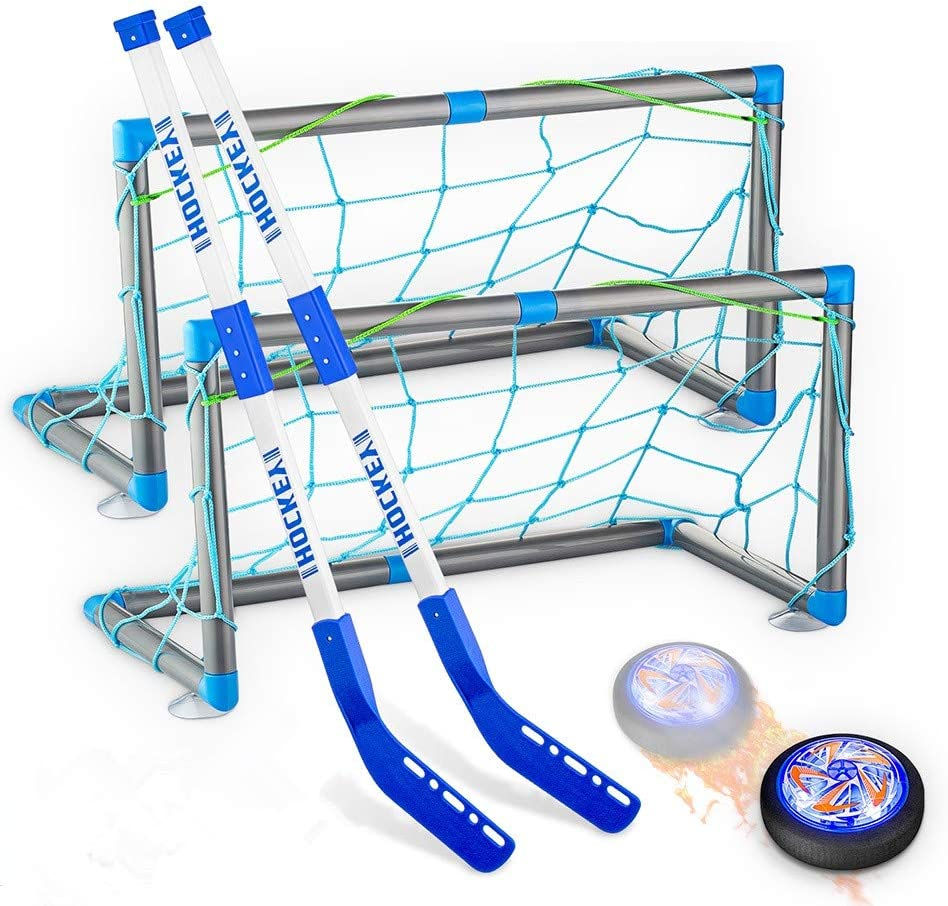 Hockey Gifts for Boys, Rechargeable Hockey Hover Set with 2 Goals Boys Toys Air Floating Hockey with LED Light Indoor or Outdoor Sport Ball Games for Boys Girls Toddlers for 3-12 Year Old Kids: Toys & Games