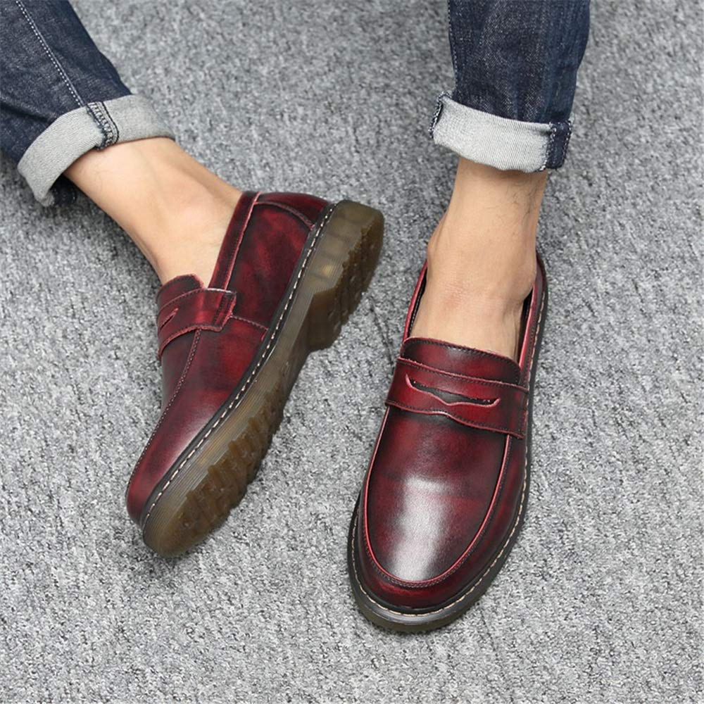 Men's Fashion Oxford Casual Comfortable Toe Cover Feet Round Toe Comfortable One Foot Pedal workwear Shoes (Color : Red, Size : 8.5 D(M) US) 8.5 D(M) US|Red B07J4KM548 f5521d