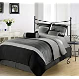 Chezmoi Collection 7-Piece 3-Tone Embroidery Comforter Set/Bed-in-a-Bag, Queen, Black Gray
