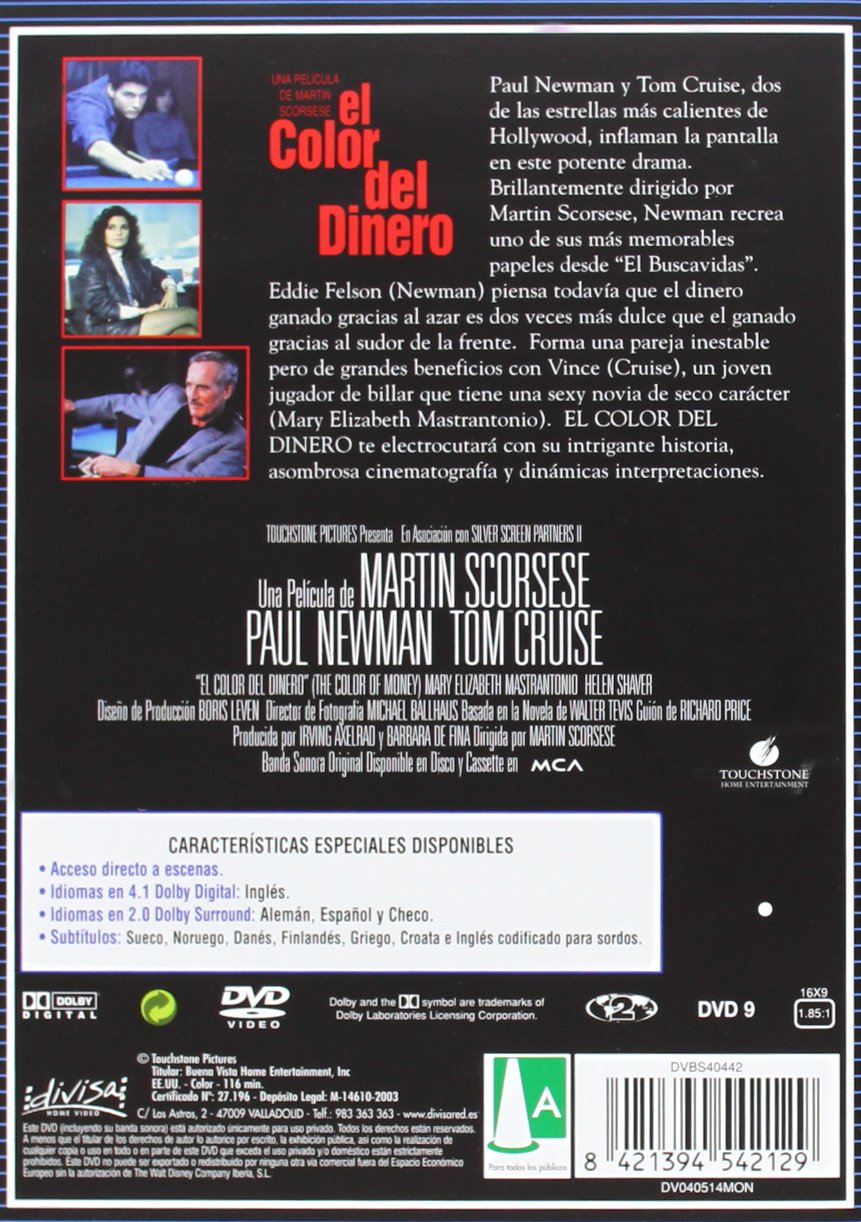 El color del dinero [DVD]: Amazon.es: Paul Newman, Tom Cruise ...