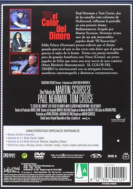 El color del dinero [DVD]: Amazon.es: Paul Newman, Tom Cruise, Mary Elizabeth Mastrantonio, Martin Scorsese: Cine y Series TV