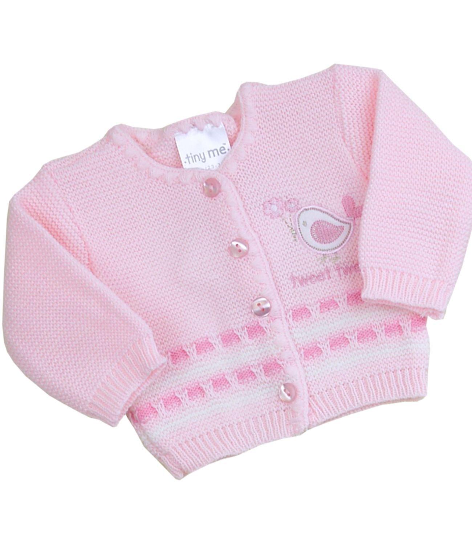 Babyprem Premature Baby Cardigan Boys Girls Tweet Tweet Pink White 3.5-7.5lb SLD076