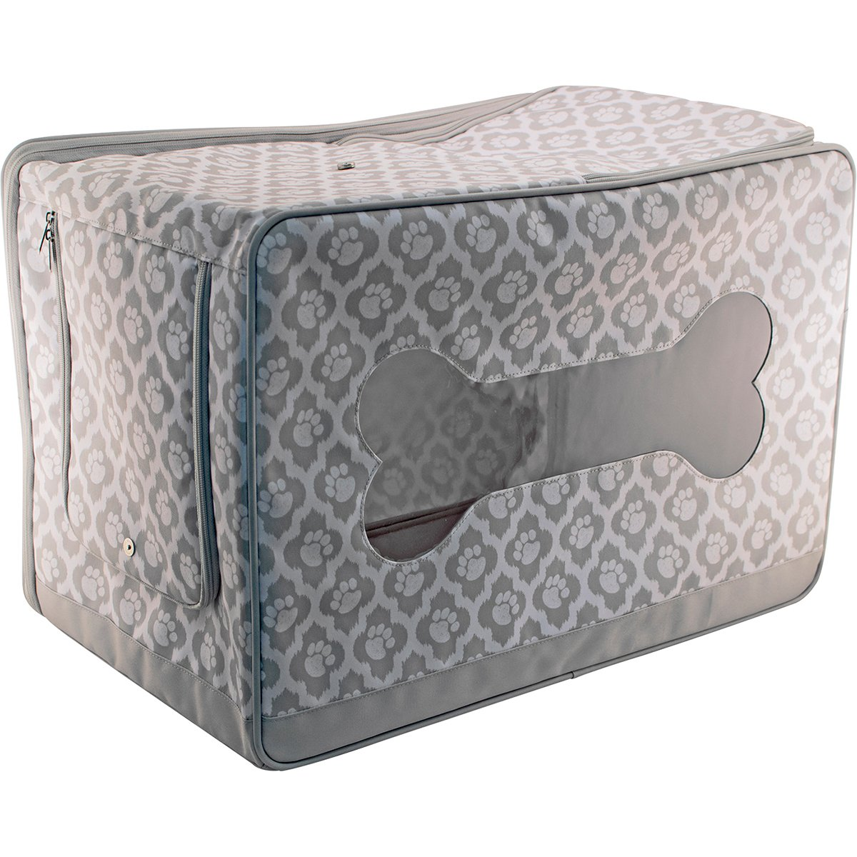 Everything Mary Pet Toy Box Paw Print, Grey/White