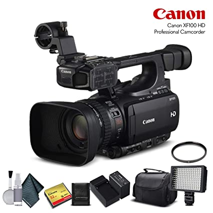 Canon XF100 HD Professional Camcorder (4888B001) with 32GB Memory Card, Extra Battery and
