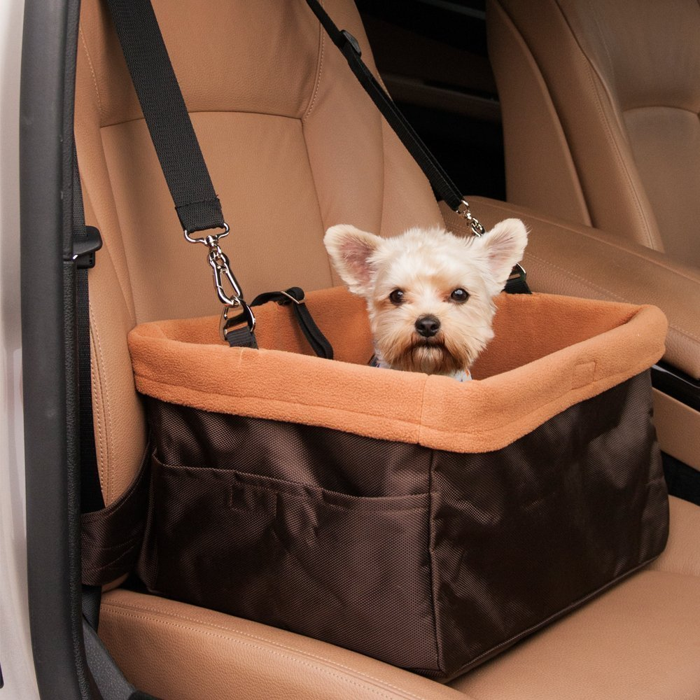 WOpet Dog Booster Car Seat with Clip on Safety Leash and Zipper Storage Pocket Perfect for Small and Medium Pets up to 20 lbs (15.7 x 12.2 x 7.8)