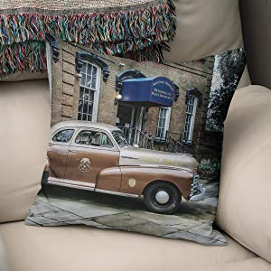 Flowershave357 Police Car Vintage Automobile Throw Pillow Gift for Cop Gift for Police Officer Savannah Georgia Decor Antique Car Pillow Cover