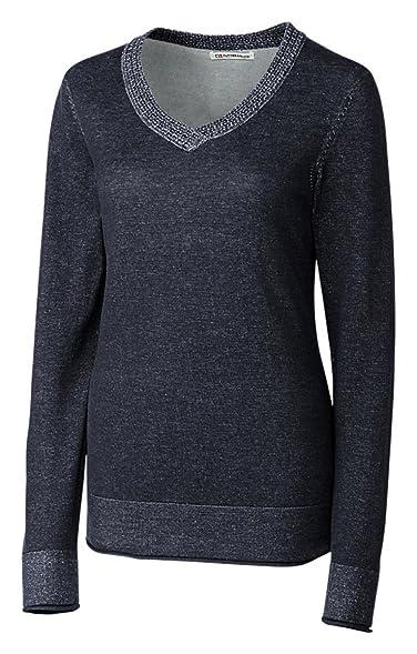 Cutter & Buck Women's Cotton V-Neck Sweater, Navy Blue, Large at ...