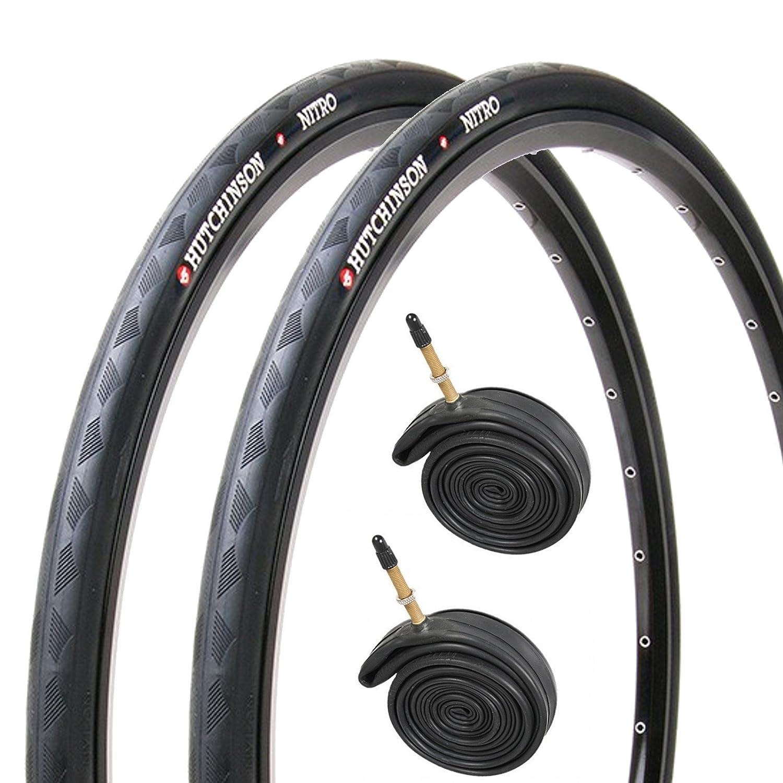 700 X 25C Hutchinson Nitro 2 Black Road Bike Tires /& Presta Tubes