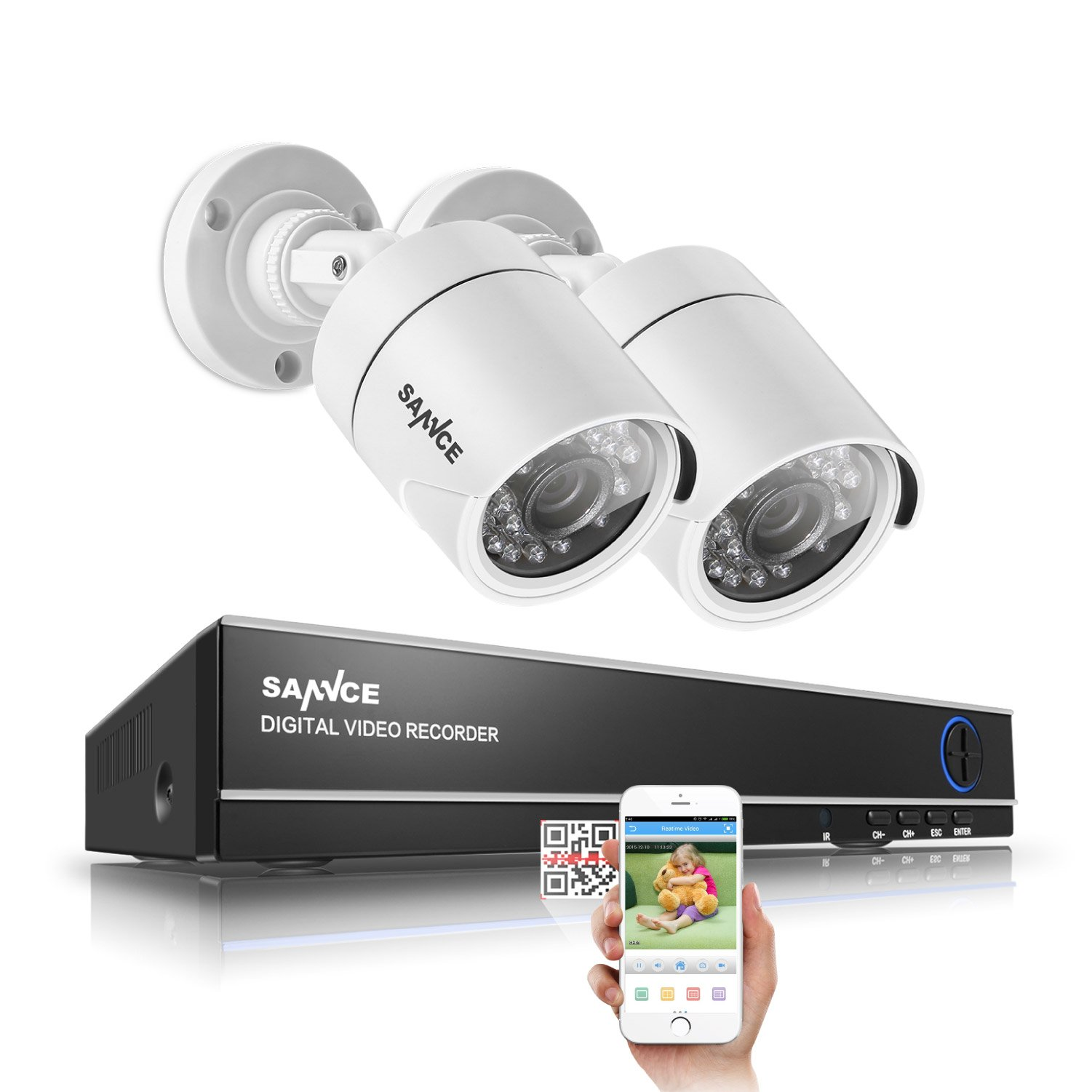 SANNCE 720P Video Security Camera System 1080N DVR and (2) 1.0MP Indoor/Outdoor Weatherproof CCTV Cameras, IR Leds Night Vision, NO HDD