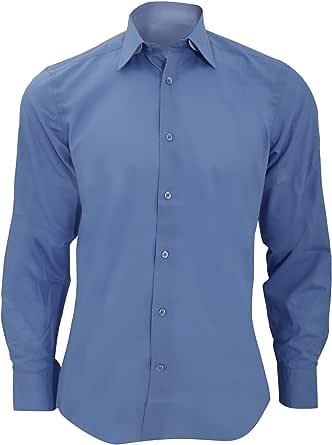 Russel Collection - Camisa de manga larga de popelina d poli-algodón Cuidado facil Modelo Tailored Poplin hombre caballero - Trabajo/Boda/Fiesta