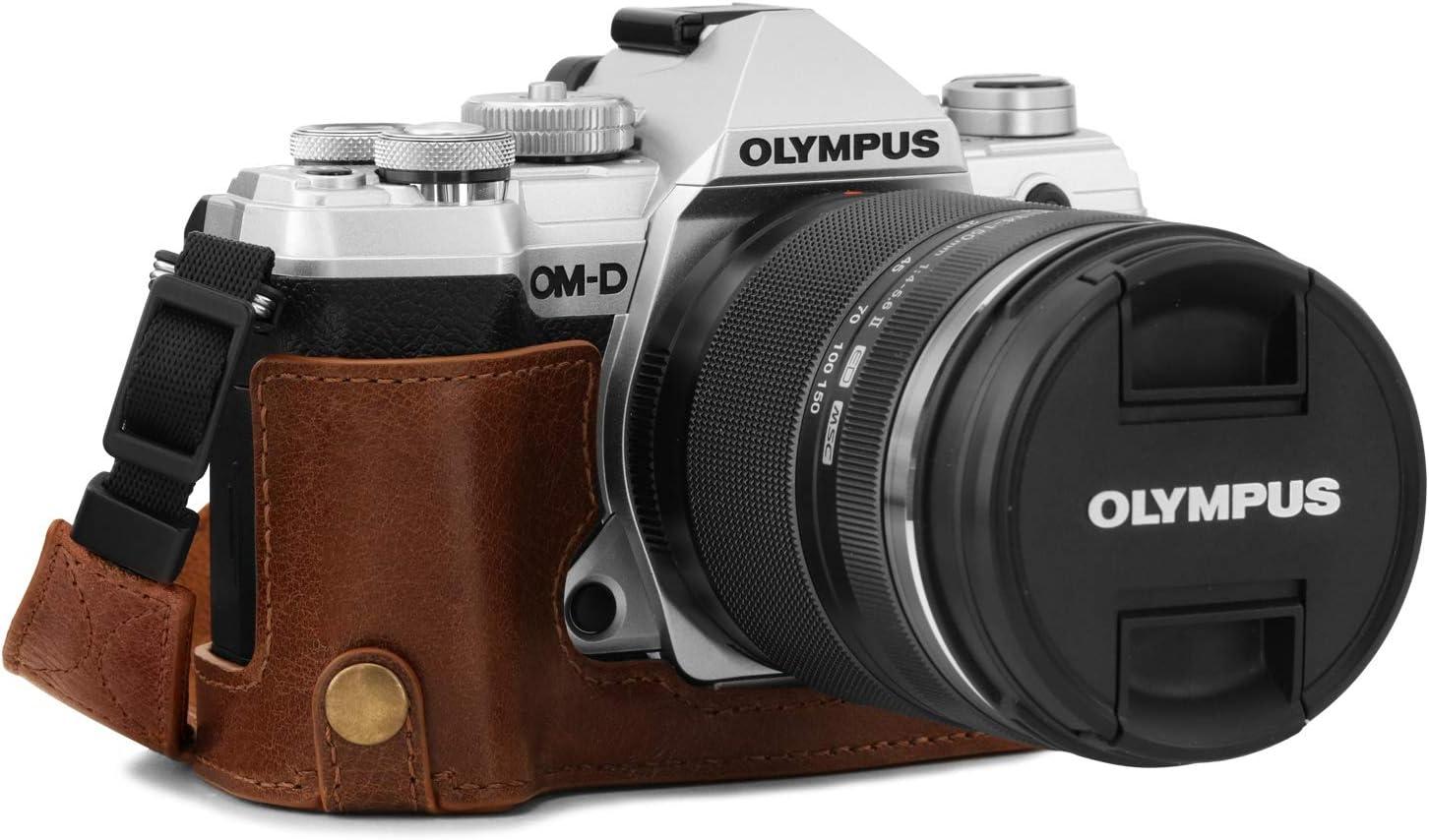 MegaGear Ever Ready Echtleder Kamera-Halbtasche mit Trageriemen kompatibel mit Olympus OM-D E-M5 Mark III