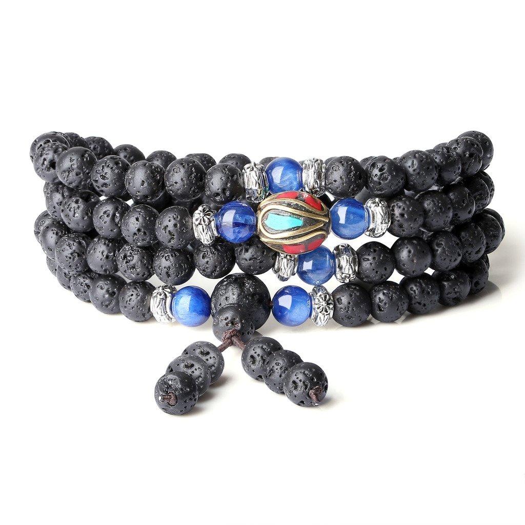 COAI 6mm Genuine Lava Onyx Kyanite Stones 108 Mala Beads Wrap Bracelet Necklace N445-2