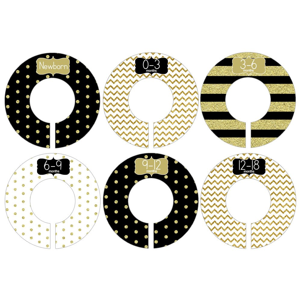 Gift Set of 6 Closet Organizer Dividers for Baby and Toddler Clothing with Black and Gold Glitter Like Designs CDG047