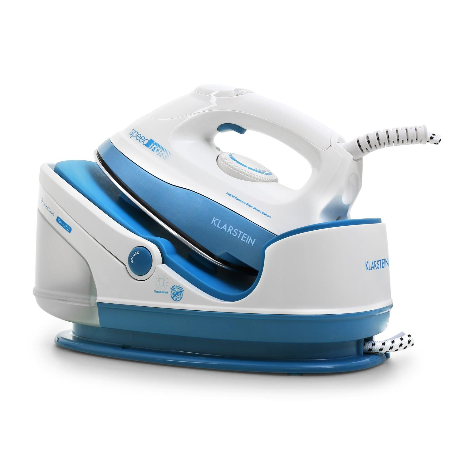 Klarstein Speed Iron • Steam Iron • Steam Iron Station • 2400W • 1.7L Capacity • Vertical Steam • 3.5-bar Steam Pressure 90g/min Volume • 68 Nozzles • Stainless Sole • Anti-Lime Cartridge • Blue-Grey
