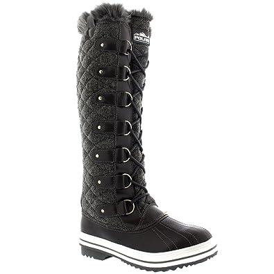 a81c49f0c22 POLAR Womens Quilted Knee High Duck Rain Waterproof Muck Snow Winter Boots  - 10 - GRT43