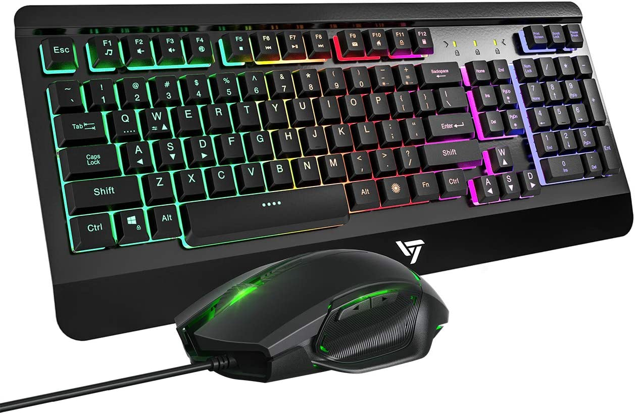 Color : White USB Optical Game Mouse Sets for PC Laptop Computer Gaming Keyboard Mouse Combo Wired Rainbow LED Backlit 104 Keys Ergonomic Gamer Keyboard