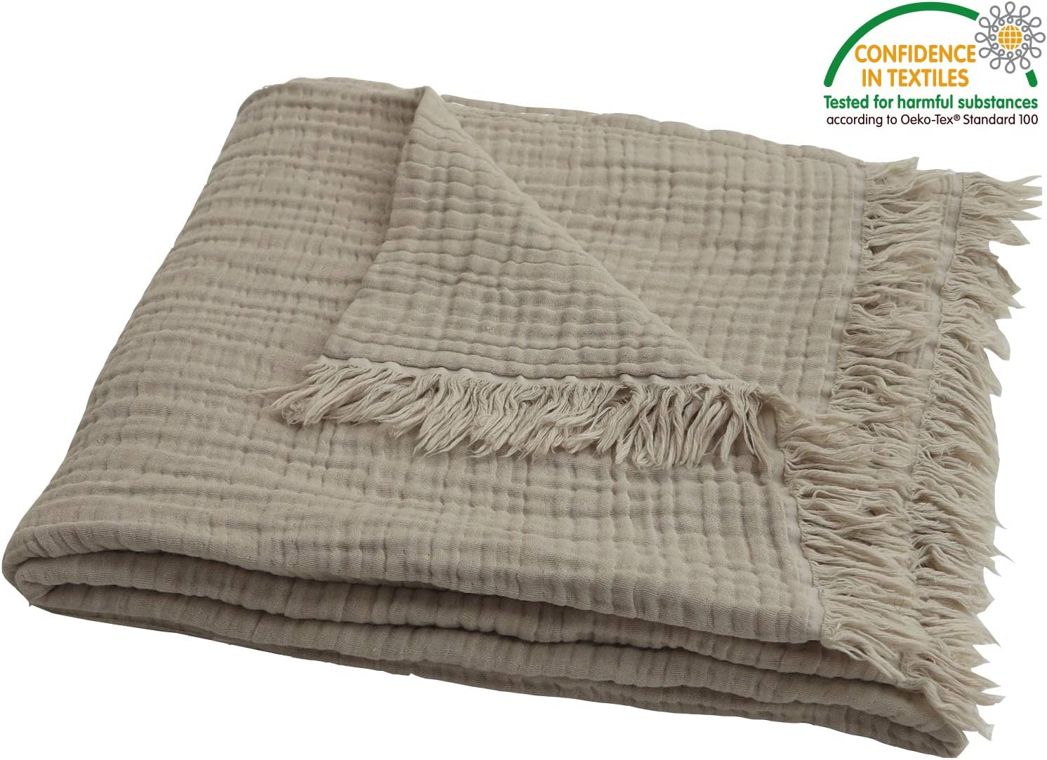 """100% Pre-Washed Organic Muslin Cotton Throw Blanket for Adults, Kids, Couch. Super Soft Breathablet, Warm, Cozy, Lightweight Bed Blanket, Everyday Use, All Season (55""""x60"""" inches) (Khakis)"""