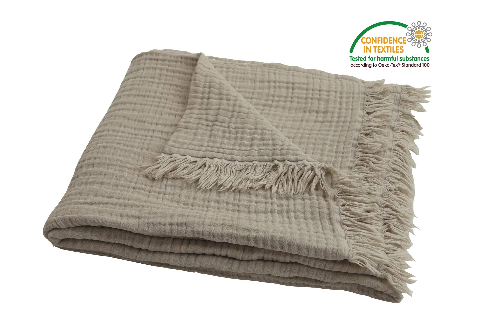 Pre-Washed Organic Muslin Throw Blanket for Adults,Kids Couch, Breathable Super Soft 100% Organic Cotton, Cozy, Lightweight, Warm, Soft, Everyday Use, Oeko-Tex 100 Certified (50''x60'' inches) (Khakis)