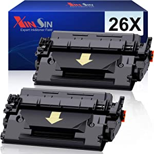XINSIN Compatible 26X CF226X 26A CF226A Toner Cartridges Replacements for HP Laserjet Pro M402n M402dn M402d M402dw MFP M426dw M426fdn M426fdw Printer (Black, 2-Pack), High Yield