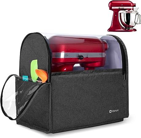 Yarwo Cubierta para KitchenAid Robots de Cocina, Funda para Batidoras amasadoras, Cubierta Encaja para Todos los KitchenAid Robots de Cocina 4.3 y 4.8 litros, Negro: Amazon.es: Hogar