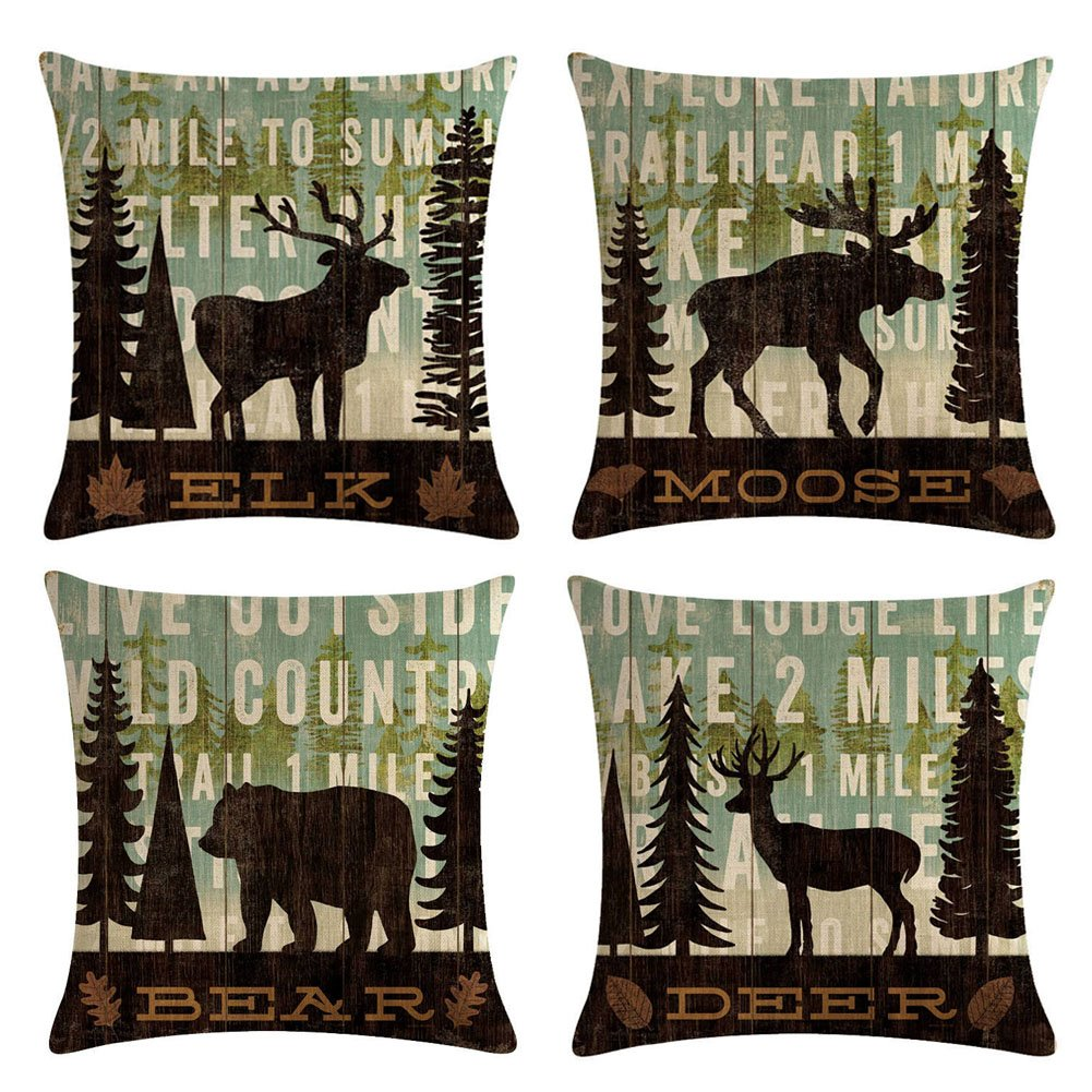 "Decroitem Retro Vintage Background Wildlife Elk Moose Bear Deer Pine Tree Forest Mountain Throw Pillow Covers Cotton Linen Pillowcase Cushion Cover Christmas Home Decor 18"" X 18"" Set of 4 (Animals 1)"