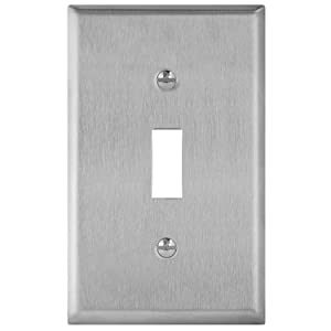 "ENERLITES Toggle Light Switch Metal Wall Plate, Corrosive Resistant, Size 1-Gang 4.50"" x 2.76"", 7711, 430 Stainless Steel"