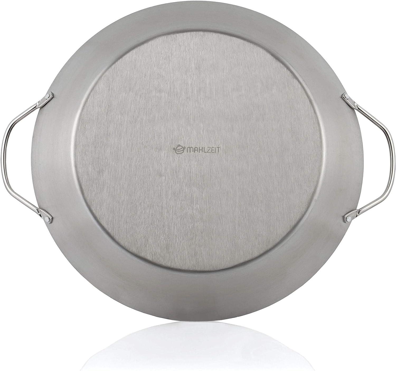 grill in acciaio inox con manici diametro 35 cm Mahlzeit Padella tradizionale per paella per 6 persone elettrico per paella per fornello a gas