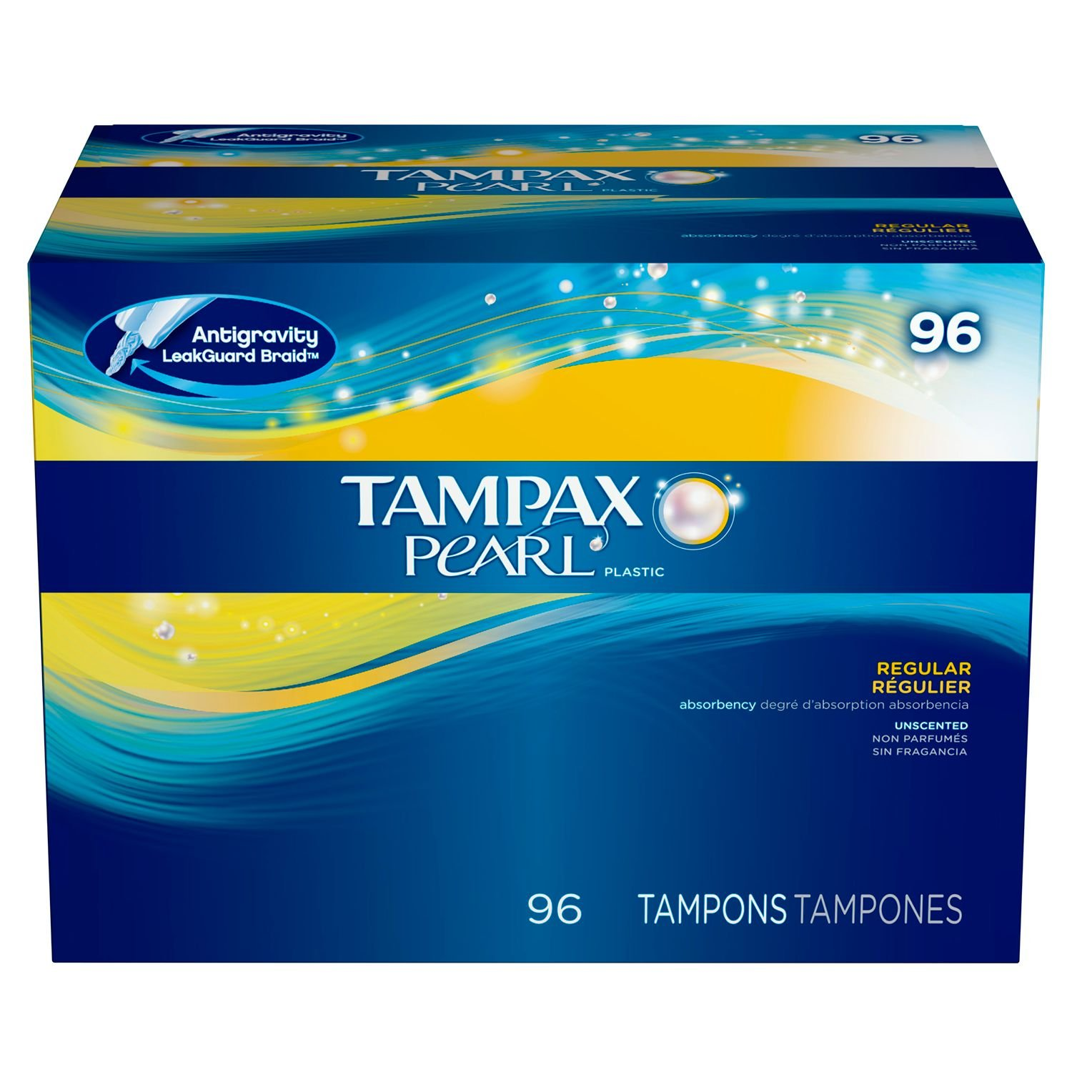 Tampax Pearl Plastic, Antigravity LeakGuard Braid, Regular Absorbency Unscented Tampons, 96 Count
