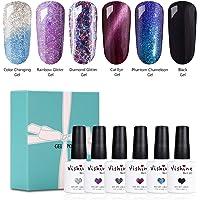 Vishine Soak Off UV LED Gel Nail Polish Gift Set 6 Mix Color Collection Color Changing Cat Eyes Glitter Nail Gel Phantom…