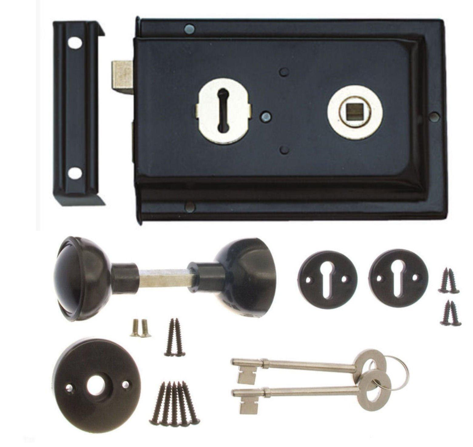"Rim Lock & Handle Set 6 x 4"" Sashlock with Knobs - Black"