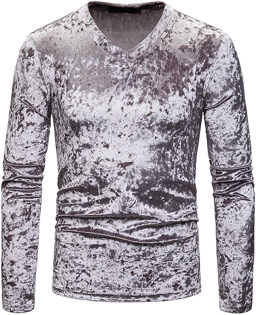 Camisetas De Hombre Camisa De Manga Larga para Hombre Camisa Casual con Cuello En V De Terciopelo De Diamante con Cuello Redondo Tops De Color SóLido Blusa Transpirable CóModa Tongshi: Amazon.es: Ropa