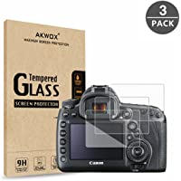 AKWOX (Pack of 3) Tempered Glass Screen Protector for Canon EOS 5D MK IV Mark 4, [0.3mm 2.5D High Definition 9H] Optical LCD Premium Protective Cover